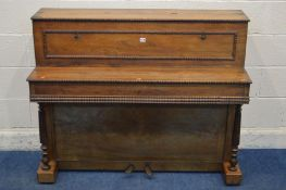 A REGENCY ROSEWOOD UPRIGHT PIANO, name indistinctly signed, of Paris, serial number 12102, with twin