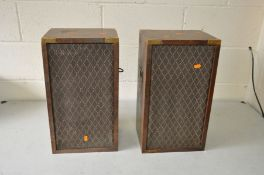 A PAIR OF DYNATRON LS2928 HI FI SPEAKERS in mahogany cases with campaign handles and a Regency style