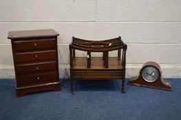 A MAHOGANY BEDSIDE CHEST OF THREE DRAWERS, width 43cm x depth 33cm, a mahogany canterbury with a