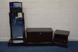 THREE VARIOUS STAG MINSTREL BEDROOM FURNITURE, to include a cheval mirror, blanket chest and a