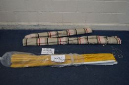 A QUANTITY OF VARIOUS BLINDS, to include two sized stripped roller blinds, one 5ft7 wide x 5ft drop,