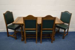A REPRODUCTION OAK REFECTORY TABLE, in the 18th century style, on turned legs united by a H