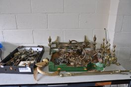 TWO TRAYS OF BRASSWARE including two sets of fire dogs, six wall lamps with feather, rope and swag
