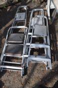 FOUR SETS OF ALUMINIUM LADDERS, the biggest at length 190cm together with another smaller set