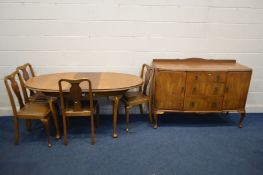 AN EARLY TO MID 20TH CENTURY WALNUT AND BEECH EXTENDING DINING TABLE with a single leaf and separate
