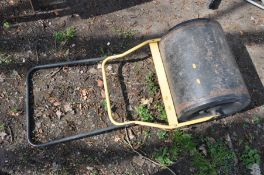 A MODERN GARDEN ROLLER with a yellow and black tubular metal folding handle and a welded steel