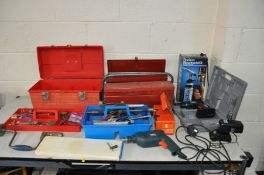 A COLLECTION OF TOOLS AND TOOLBOXES including a Black and Decker drill , a Craft cordless drill (