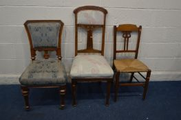 AN ART NOUVEAU OAK HIGH BACK CHAIR on cylindrical tapering front legs, along with a late Victorian