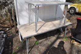 TWO FOLDING ALUMINIUM FRAMED TABLES with laminated tops, one at width 182cm, depth 69cm, height