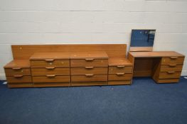 A TEAK FINISH SIX PIECE BEDROOM SUITE, comprising a dressing table with a single swing mirror, two