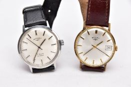 TWO GENTS 'ROTARY' WRISTWATCHES, the first of a hand wound movement, round silver dial signed '