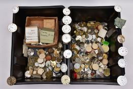 TWO PLASTIC TUBS OF WATCH DIALS AND MOVEMENTS, AF, a quantity of pocket watch movements with names