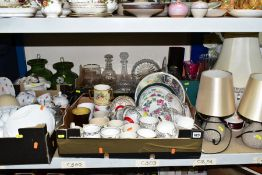 FOUR BOXES AND LOOSE CERAMICS AND GLASS etc, to include Windsor and Zena teawares, Royal