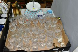 VARIOUS CUT GLASSES AND CERAMICS, to include Royal Crown Derby 'Mikado' jug (no lid), height 13.5cm,