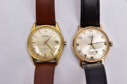 TWO GENTS WRISTWATCHES, the first with a round champagne dial signed 'Rotary, 17 jewels,