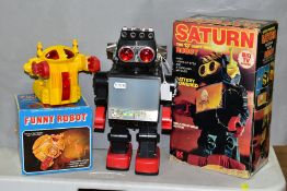 A BOXED KAMCO SATURN PLASTIC BATTERY OPERATED ROBOT, no. 1981, c.1980's, not tested, appears