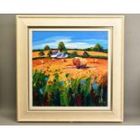 LYNN RODGIE (BRITISH CONTEMPORARY) 'STRAW BALES, ANCRUM' a colourful Scottish landscape, signed
