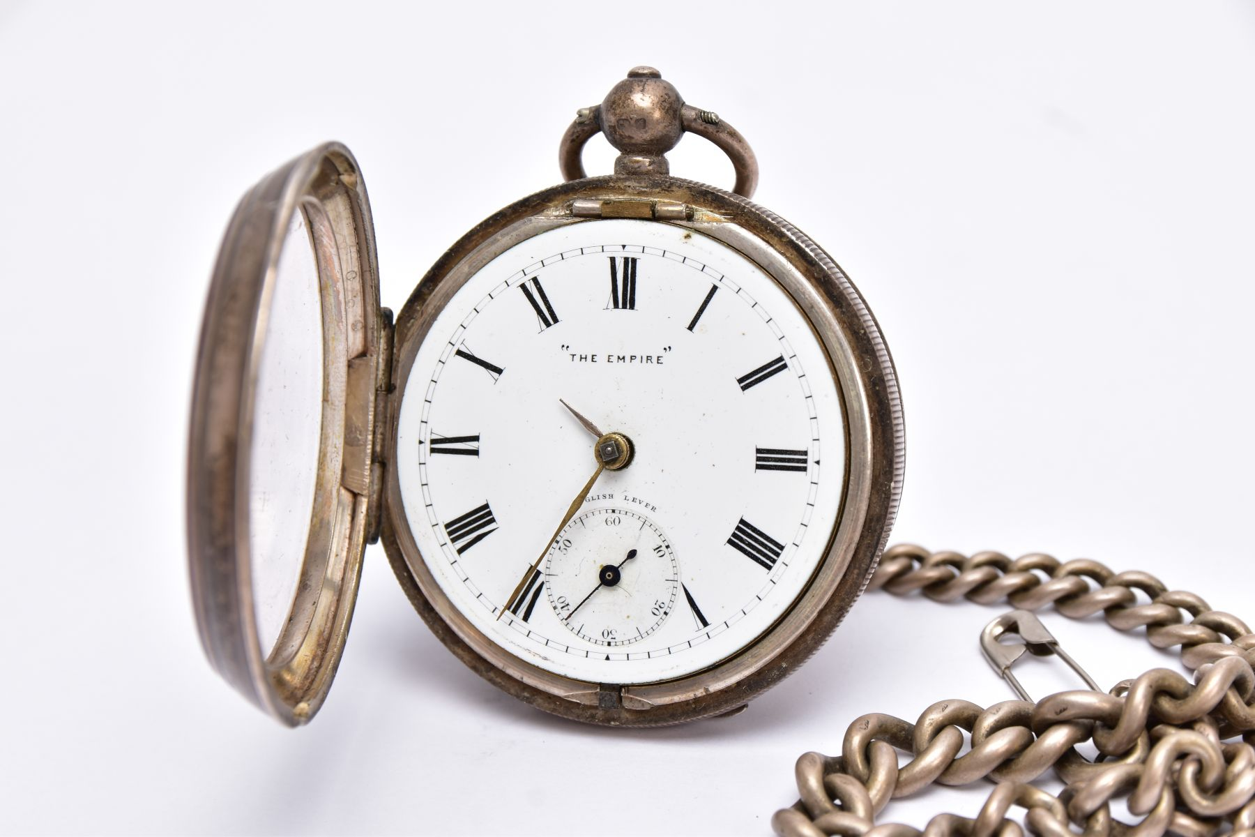 A SILVER OPEN FACED POCKET WITH ALBERT CHAIN, white dial signed 'The Empire', Roman numerals, - Image 3 of 5