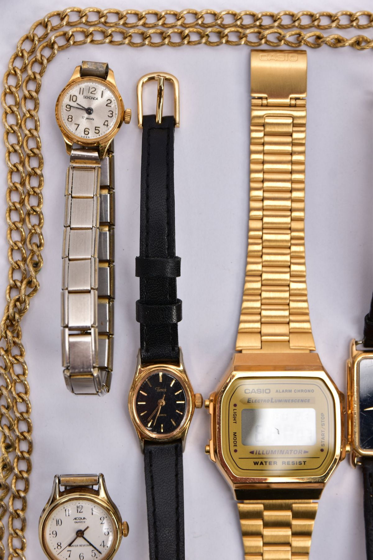 A BAG OF ASSORTED WRISTWATCHES, to include a 'Casio alarm chrono, electro luminescence' - Image 4 of 5