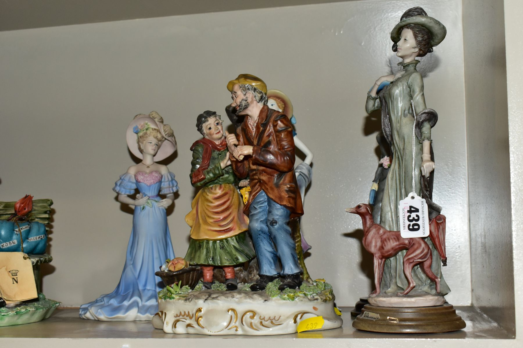 A GROUP OF CERAMIC FIGURES AND ORNAMENTS, including Capo Di Monte tramp on a bench, elderly - Image 10 of 16