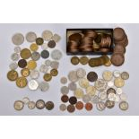 A SMALL BOX OF WORLD COINS to include a small amount of silver coins