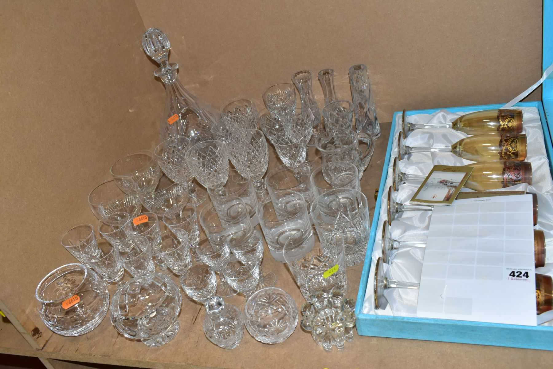 A GROUP OF GLASSWARE, including a boxed set of six Crystallera F.lli Fumo wine glasses, one set - Image 2 of 11
