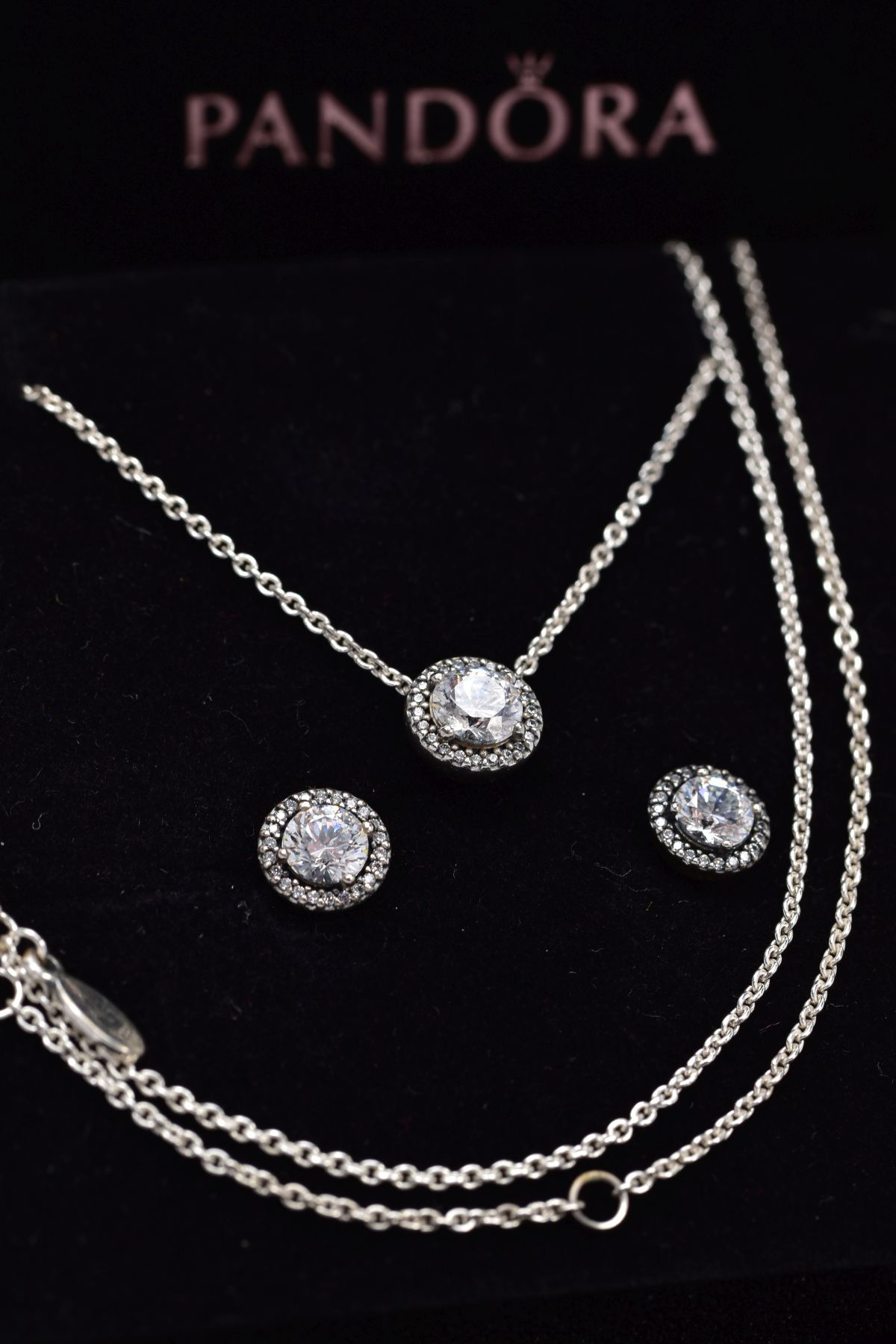 A PANDORA NECKLACE AND EARRING GIFT SET, the necklace designed with a cubic zirconia halo set - Image 3 of 3