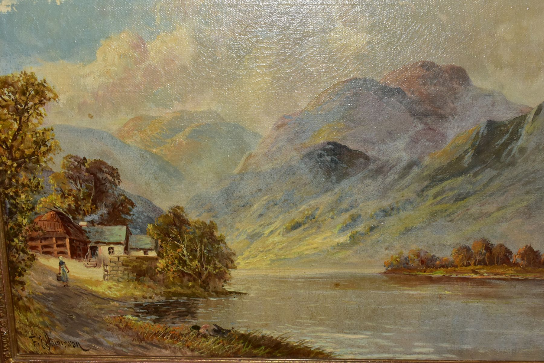 FRANCIS E. JAMIESON (1895-1950) 'LOCH SHIEL' a Loch and female figure to foreground mountains to the - Image 2 of 7
