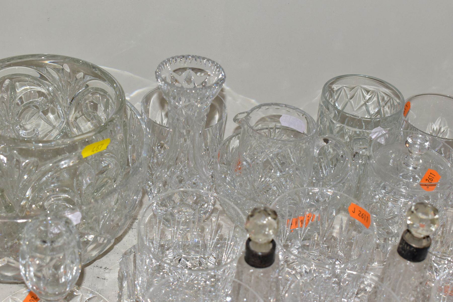 A GROUP OF CUT AND COLOURED GLASSWARES, to include a silver rimmed bowl, diameter 21cm, a Royal - Image 10 of 11