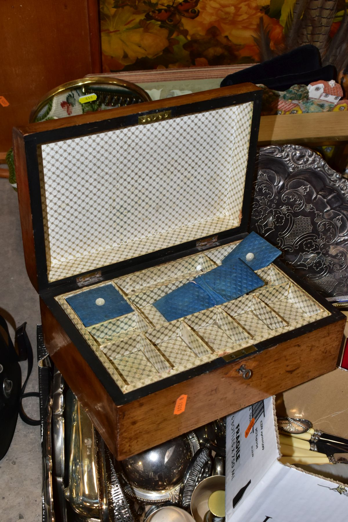 TWO BOXES AND LOOSE OF METALWARE, TREEN, MISCELLANEOUS ITEMS, ETC, including EPNS trays and galeried - Image 9 of 10