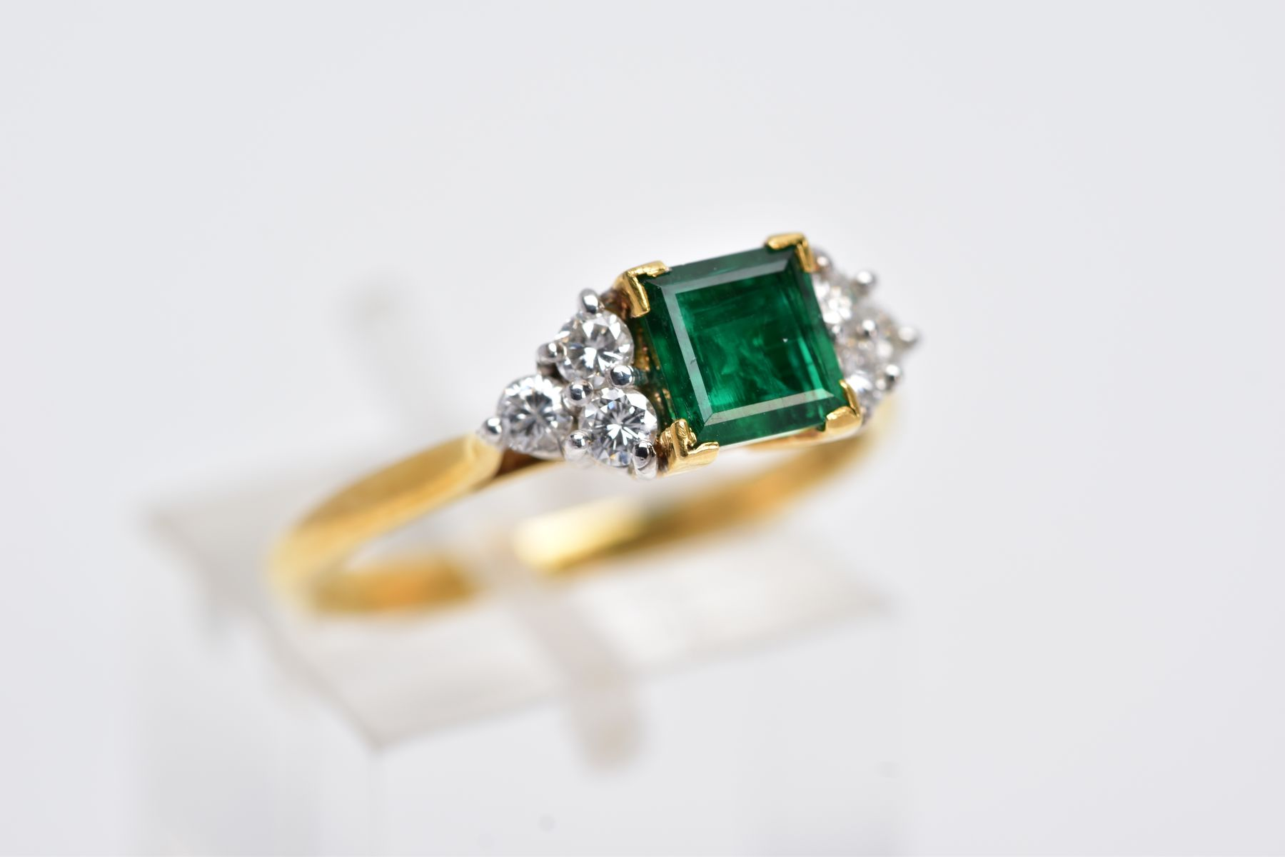 A LATE 20TH CENTURY 18CT GOLD EMERALD AND DIAMOND RING, centring on a square cut emerald measuring - Image 4 of 5