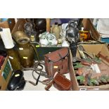 TWO BOXES AND LOOSE SUNDRY ITEMS etc to include Gladstone Montrose teawares, Edinburgh Crystal