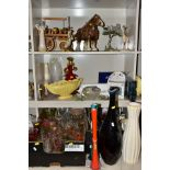 FOUR BOXES AND LOOSE OF ECCLESIASTICAL INTEREST CERAMICS AND GLASSWARE ETC, including leather
