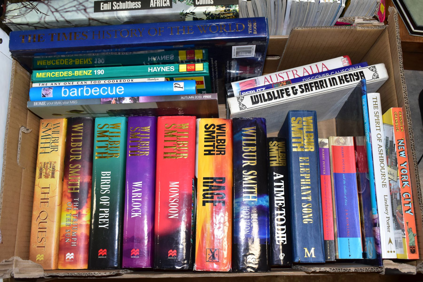 SEVEN BOXES OF ASSORTED BOOKS, including novels, cookery books, DIY books, motoring interest etc, - Image 2 of 8