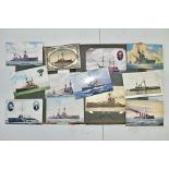 POSTCARDS, one album containing approximately one hundred and fifty WWI era Naval Battleship