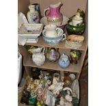 TWO BOXES AND LOOSE MISCELLANEOUS COLLECTION OF MOSTLY CERAMICS, including a cream ware pierced