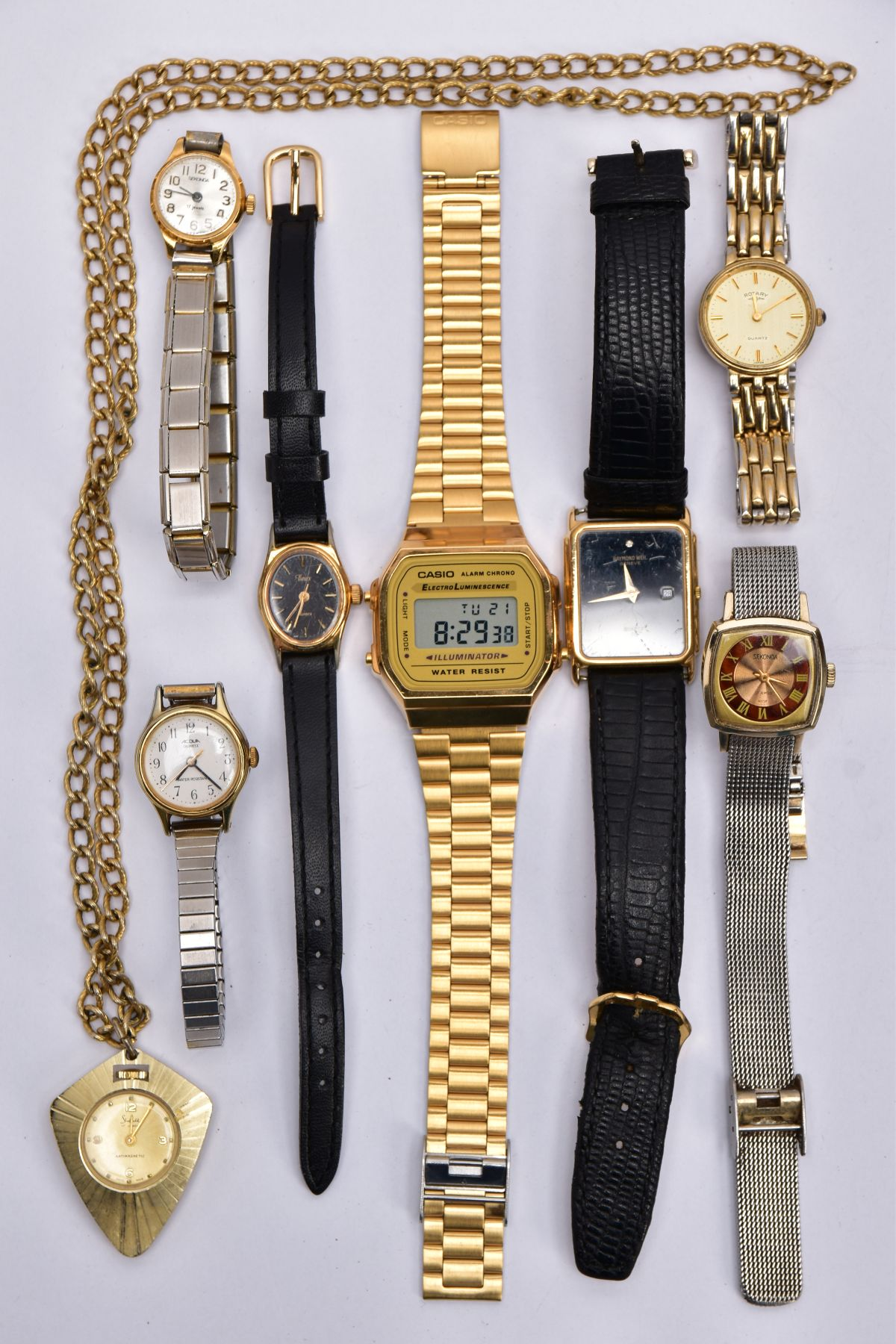 A BAG OF ASSORTED WRISTWATCHES, to include a 'Casio alarm chrono, electro luminescence'