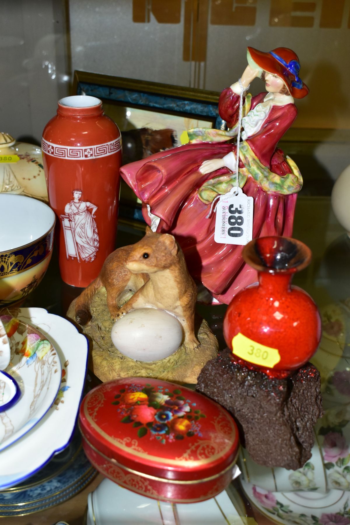 A GROUP OF CERAMICS, TINS etc, to include Royal Doulton figure 'Top O'the Hill' HN1834, Shelley - Image 2 of 11