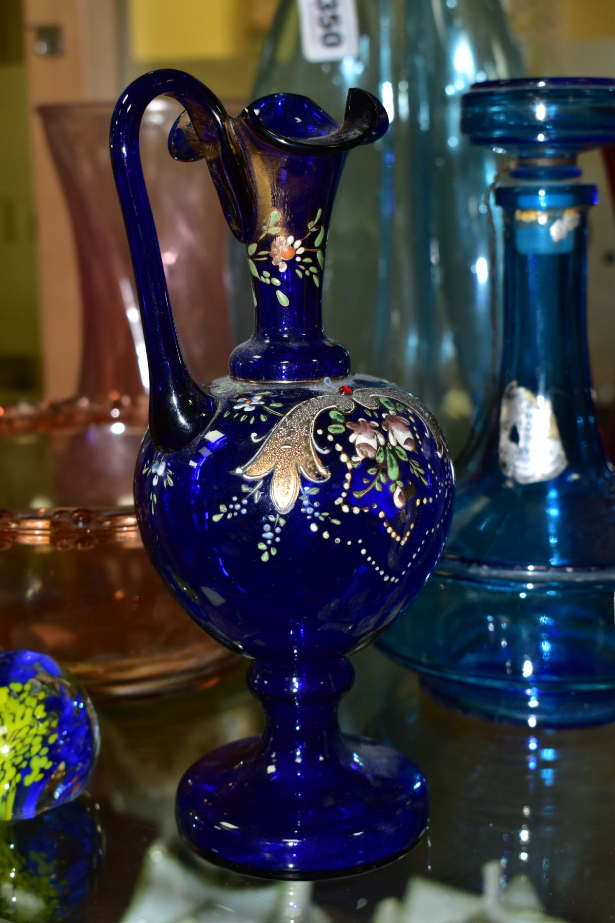 TEN PIECES OF COLOURED GLASSWARE including a blue glass vase of triform shape, with bubble - Image 10 of 10