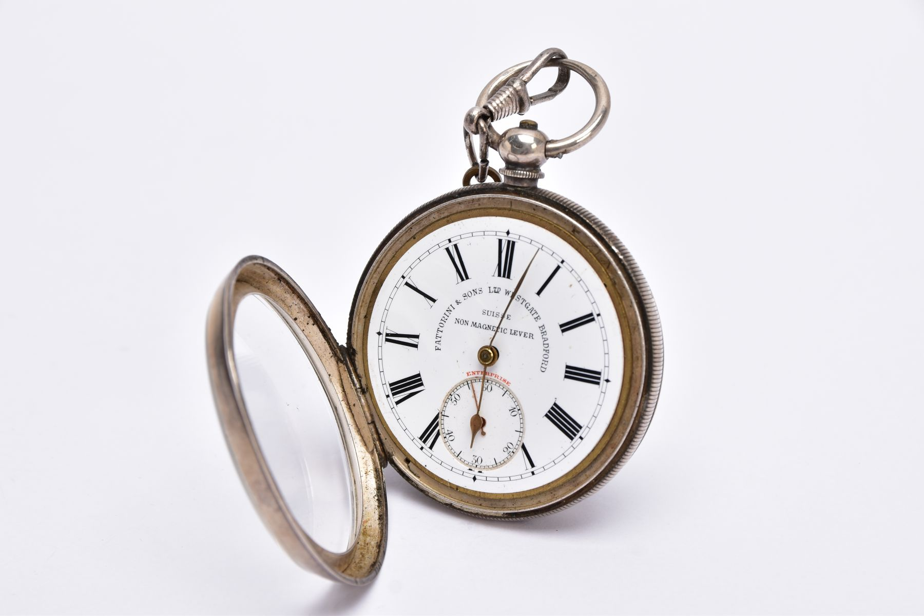 AN EARLY GEORGE V OPEN FACED SILVER POCKET WATCH, white dial signed 'Fattorini & Sons Ltd, Westgate, - Image 3 of 6