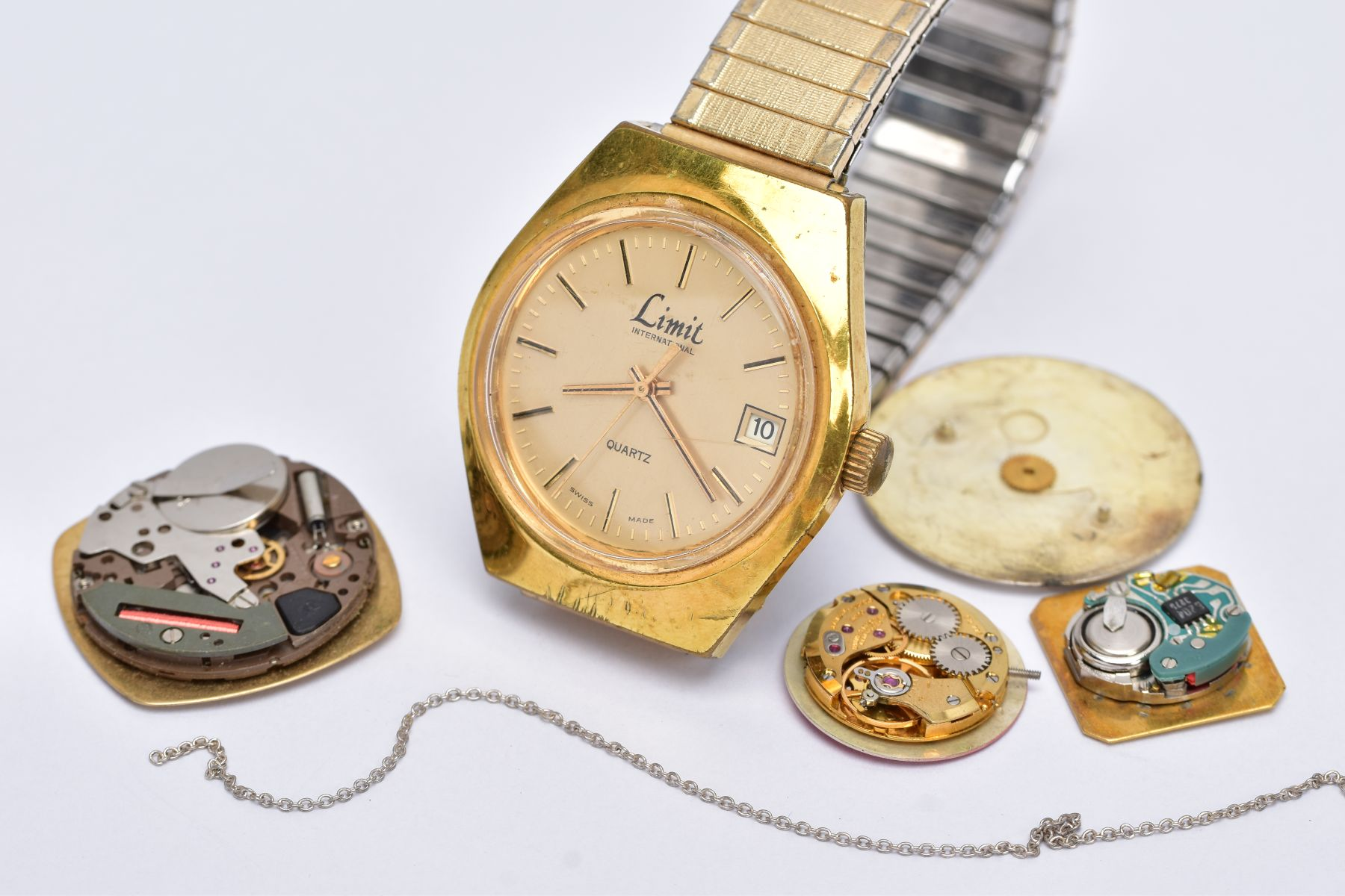 A GENTS 'LIMIT' WRISTWATCH AND WATCH PARTS, the quartz 'Limit' wristwatch, round gold dial signed ' - Image 4 of 7