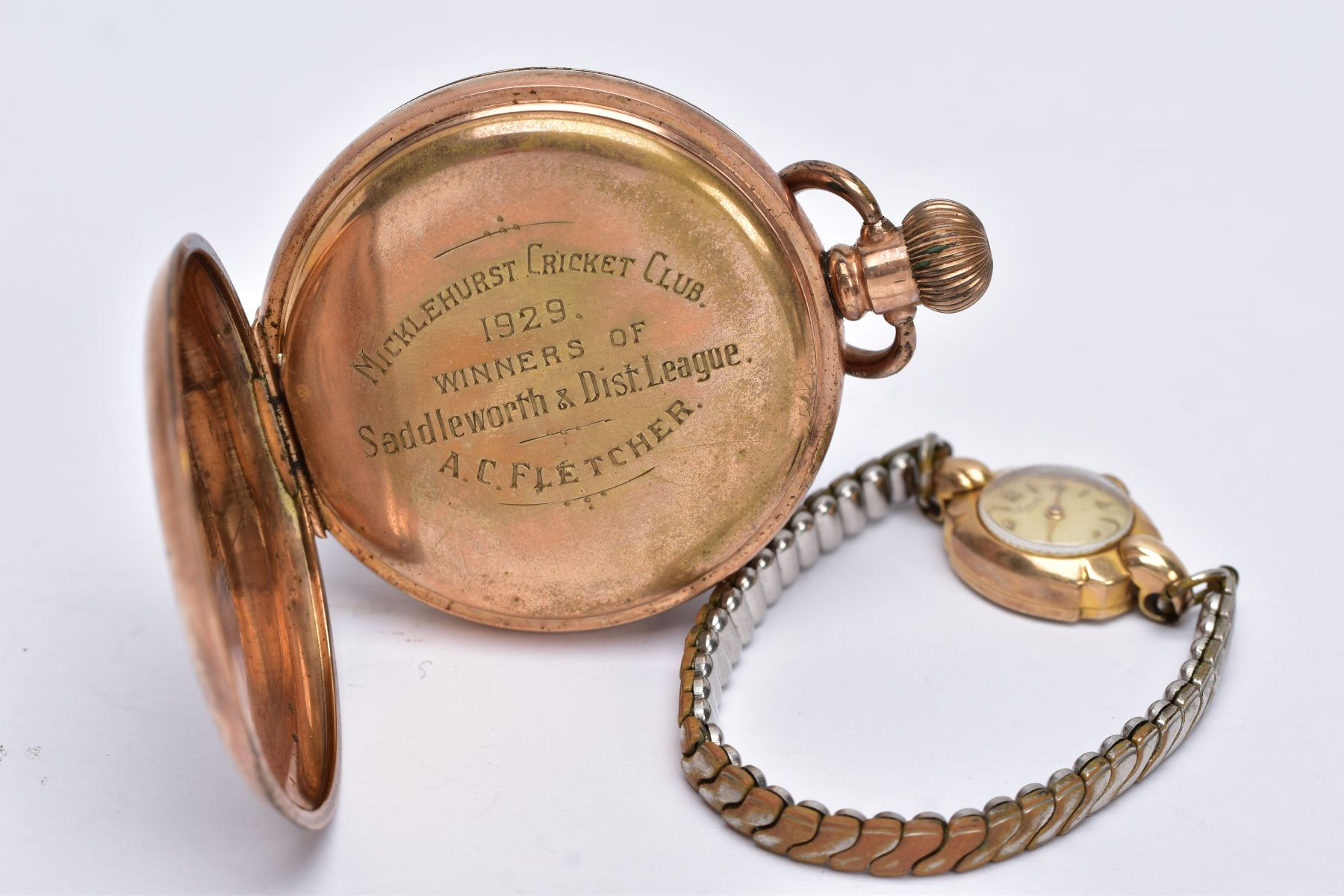 A LADIES 9CT GOLD CASED WRISTWATCH AND A GOLD PLATED POCKET WATCH, the ladies wristwatch with a - Image 3 of 5