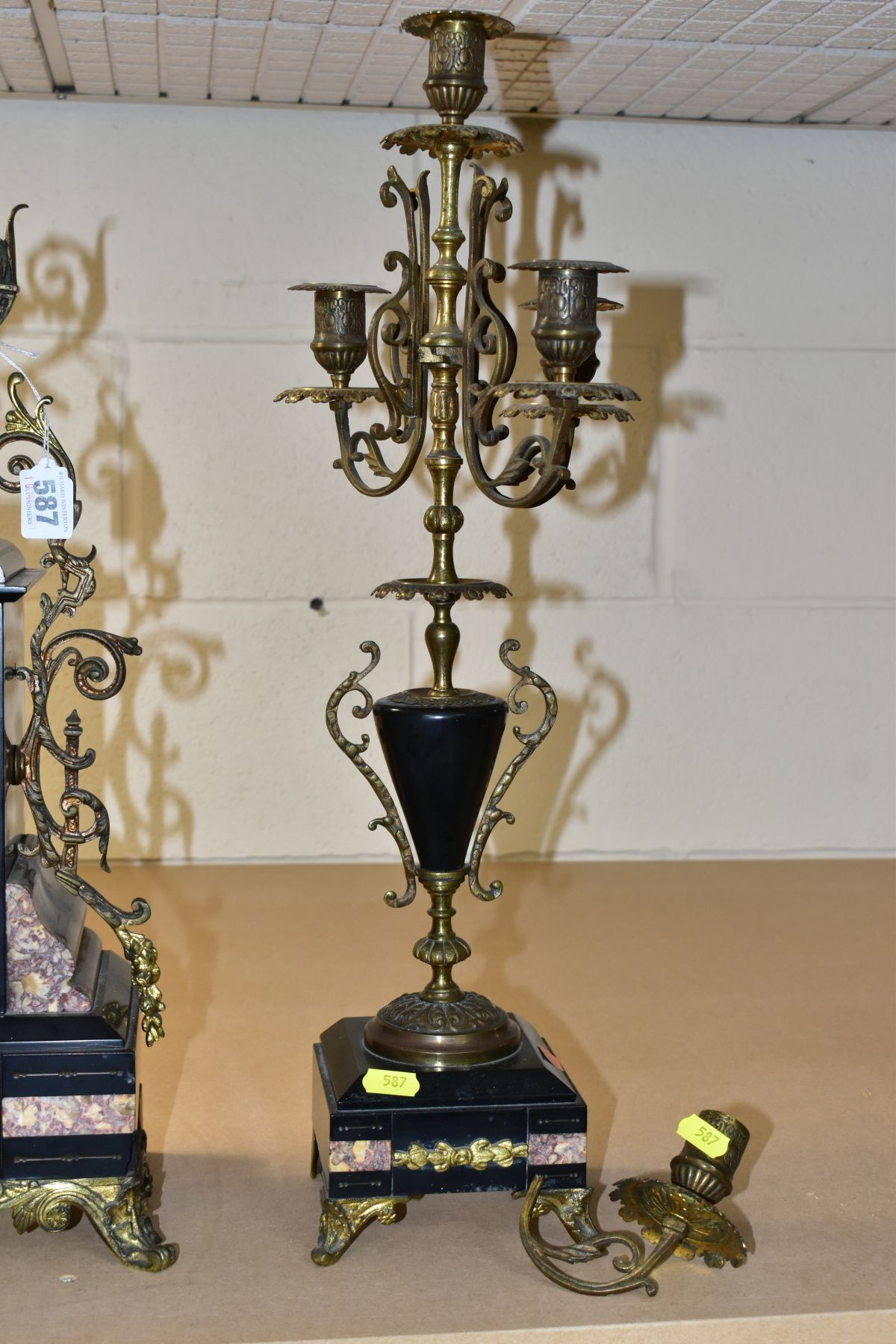 A LATE 19TH CENTURY BLACK SLATE, MARBLE AND GILT METAL CLOCK GARNITURE, the clock with urn shaped - Image 2 of 13