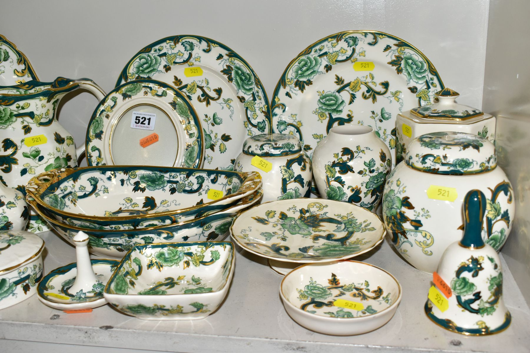 A COLLECTION OF MASONS IRONSTONE 'CHARTREUSE' PATTERN PLATES, JUGS, BOWLS, GINGER JARS, etc, - Image 6 of 7