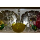 A QUANTITY OF CLEAR AND COLOURED GLASSWARE AND TWO LATE 20TH CENTURY SILVER PLATED TRAYS,
