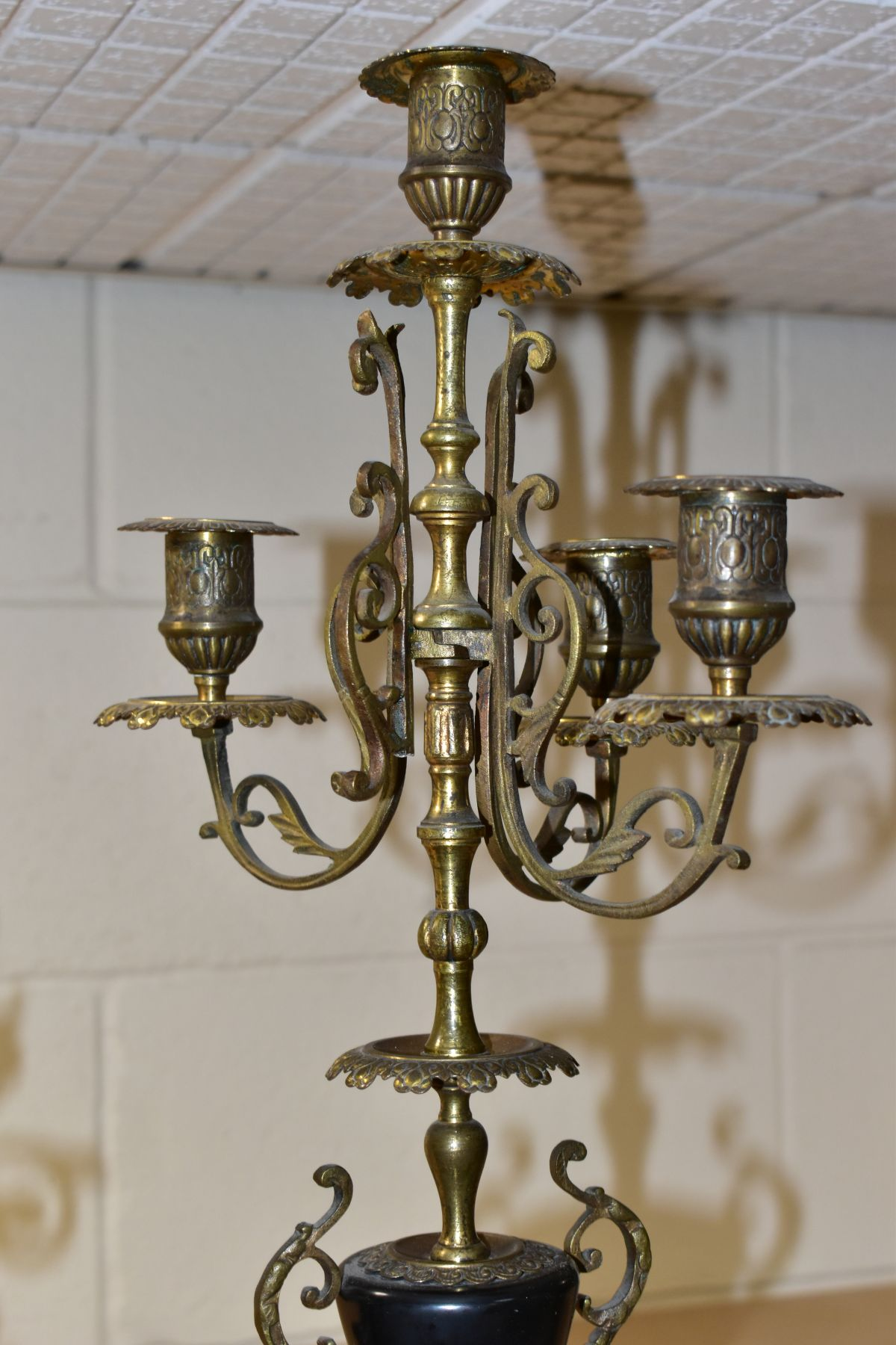 A LATE 19TH CENTURY BLACK SLATE, MARBLE AND GILT METAL CLOCK GARNITURE, the clock with urn shaped - Image 9 of 13
