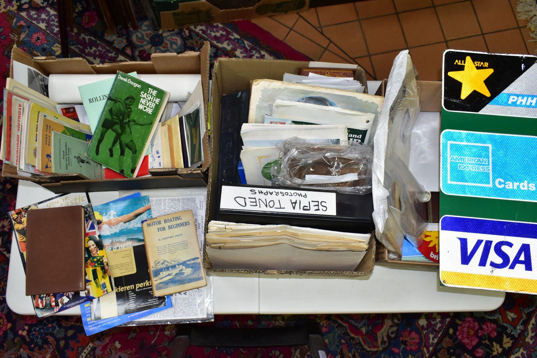 EPHEMERA, three boxes of ephemera, box one includes books, programmes, horse racing passes, Aston
