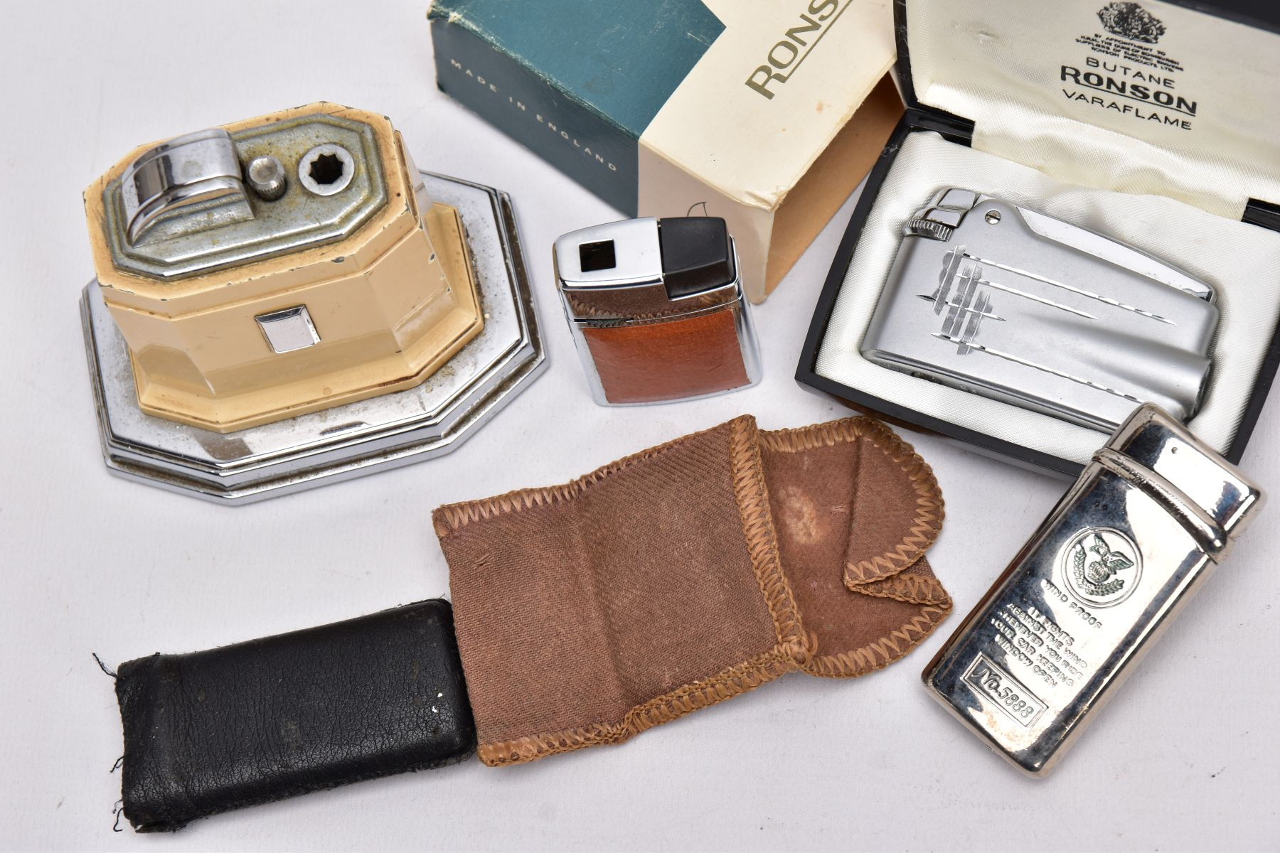 A 'RONSON' TOUCH TIP TABLE LIGHTER, A BOXED 'RONSON' LIGHTER AND TWO OTHERS, an art deco style cream - Image 2 of 3