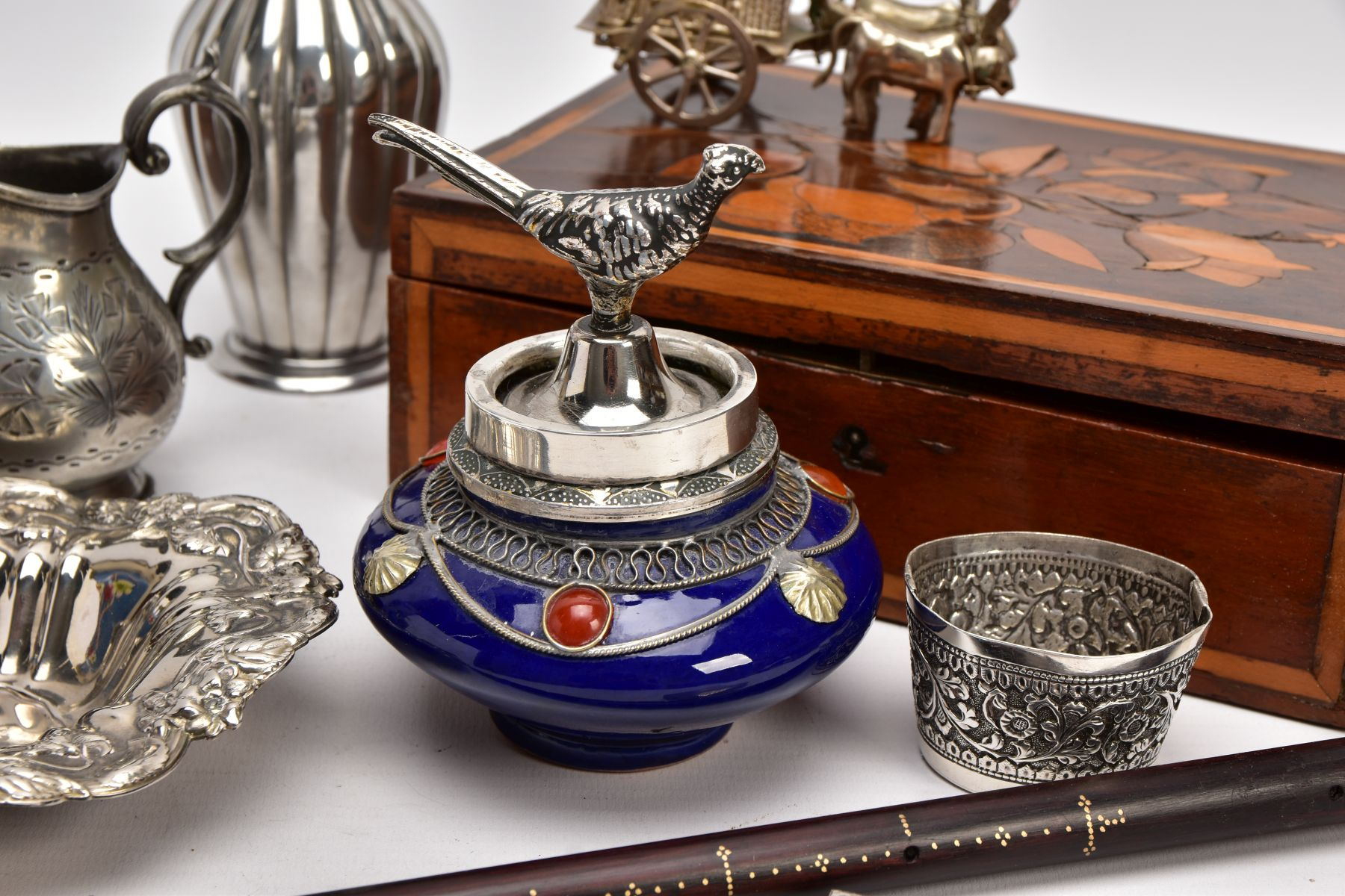 A BOX OF SILVER PLATE, COLLECTABLES AND OTHER METALWARES, including a small Indian white metal - Image 2 of 17