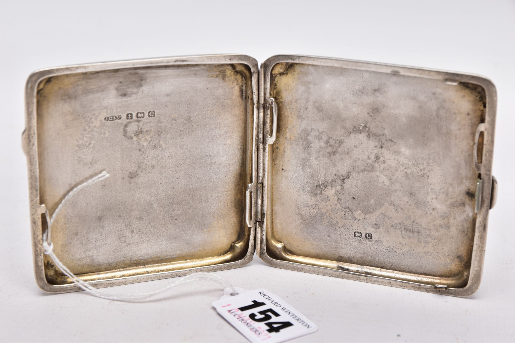 A SILVER CIGARETTE CASE, of an engine turn design, engraved monogram, missing elastic straps on - Image 2 of 3